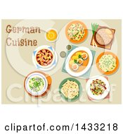Clipart Of A Table Set With German Cuisine With Text Royalty Free Vector Illustration