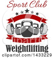 Clipart Of A Barbell And Kettle Bells With Text Stars And Blank Banners Royalty Free Vector Illustration