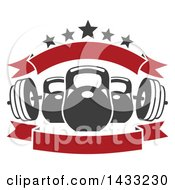 Clipart Of A Barbell And Kettle Bells With Stars And Blank Banners Royalty Free Vector Illustration