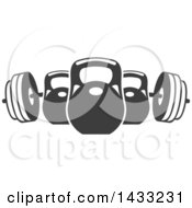 Clipart Of A Barbell And Kettle Bells Royalty Free Vector Illustration