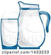 Clipart Of A Milk Glass And Pitcher Royalty Free Vector Illustration