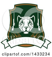 Clipart Of A Hunting Shield Design With A Leopard Rifles And Banner Royalty Free Vector Illustration by Vector Tradition SM