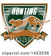 Clipart Of A Hunting Shield Design With Text And A Big Cat Royalty Free Vector Illustration by Vector Tradition SM