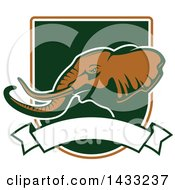 Clipart Of A Hunting Shield Design With An Elephant Royalty Free Vector Illustration by Vector Tradition SM