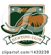 Clipart Of A Hunting Shield Design With Text And An Elephant Royalty Free Vector Illustration by Vector Tradition SM