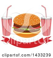 Clipart Of A Hamburger And Fountain Sodas Over A Banner Royalty Free Vector Illustration by Vector Tradition SM