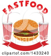 Clipart Of A Hamburger With Text And Fountain Sodas Over A Banner Royalty Free Vector Illustration