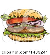 Clipart Of A Sketched Burger Royalty Free Vector Illustration