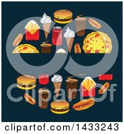 Blank Label Over A Circle Of Fast Food On Dark Blue