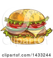 Clipart Of A Sketched Cheese Burger Royalty Free Vector Illustration by Vector Tradition SM