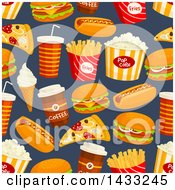 Clipart Of A Seamless Background Of Fast Foods Royalty Free Vector Illustration by Vector Tradition SM