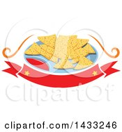 Clipart Of A Plate Of Tortilla Chips And Salsa Over A Blank Banner Royalty Free Vector Illustration