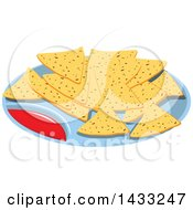 Clipart Of A Plate Of Tortilla Chips And Salsa Royalty Free Vector Illustration
