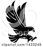 Clipart Of A Black And White Flying Eagle Ready To Grab Prey Royalty Free Vector Illustration