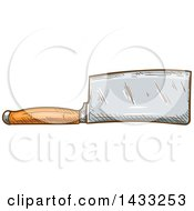 Clipart Of A Sketched Cleaver Knife Royalty Free Vector Illustration