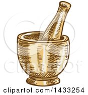Clipart Of A Sketched Mortar And Pestle Royalty Free Vector Illustration