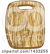 Clipart Of A Sketched Cutting Board Royalty Free Vector Illustration