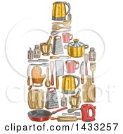 Clipart Of A Sketched Cutting Board Made Of Kitchen Items Royalty Free Vector Illustration