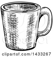Sketched Black And White Coffee Cup