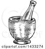 Clipart Of A Sketched Black And White Mortar And Pestle Royalty Free Vector Illustration