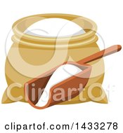 Clipart Of A Flour Sack And Scoop Royalty Free Vector Illustration
