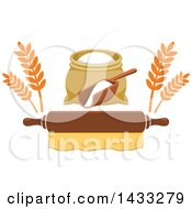 Clipart Of A Flour Sack And Scoop With Wheat Over A Rolling Pin Royalty Free Vector Illustration
