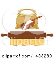 Clipart Of A Flour Sack And Scoop Over A Rolling Pin Royalty Free Vector Illustration