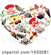 Heart Made Of Sushi Rolls Sashimi Steamed Sticky Rice Red Caviar Ginger Soy Sauce
