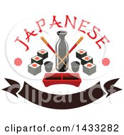 Clipart Of A Soy Sauce Bottle With Crossed Copysticks Dip Tray And Sushi With Text Dots And Blank Banner Royalty Free Vector Illustration