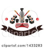 Clipart Of A Soy Sauce Bottle With Crossed Copysticks Dip Tray And Sushi With Dots And Blank Banner Royalty Free Vector Illustration