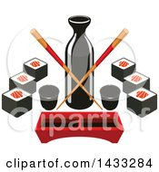Clipart Of A Soy Sauce Bottle With Crossed Copysticks Dip Tray And Sushi Royalty Free Vector Illustration