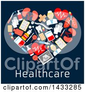Heart Formed Of Flat Style Medical Icons With Text On Dark Blue