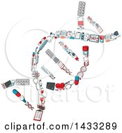 Clipart Of A Sketched Dna Strand Formed Of Medical Icons Royalty Free Vector Illustration by Vector Tradition SM