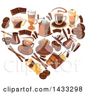 Clipart Of A Heart Formed Of Coffee Royalty Free Vector Illustration by Vector Tradition SM