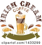 Tall Irish Cream Coffee With Text And Splashes Over A Blank Banner
