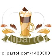 Tall Irish Cream Coffee With Splashes Over A Blank Banner