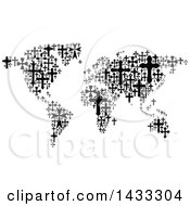 Poster, Art Print Of Black And White World Map Formed Of Crosses