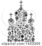 Clipart Of A Black And White Church Formed Of Crosses Royalty Free Vector Illustration