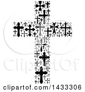 Clipart Of A Black And White Crucifix Formed Of Crosses Royalty Free Vector Illustration by Vector Tradition SM