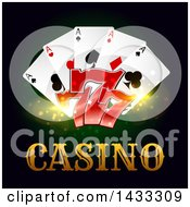 Clipart Of Playing Cards And Lucky Sevens Over Casino Text Royalty Free Vector Illustration