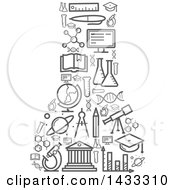 Clipart Of A Science Flask Formed Of Gray Icons Royalty Free Vector Illustration