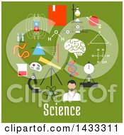 Clipart Of Flat Style Science Icons And Text On Green Royalty Free Vector Illustration