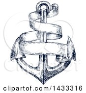 Clipart Of A Navy Blue Sketched Anchor And Blank Banner Royalty Free Vector Illustration