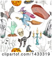 Seamless Background Pattern Of Sketched Halloween Items
