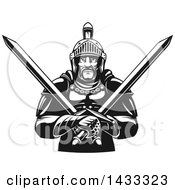 Clipart Of A Black And White Tough Gladiator Warrior Holding Crossed Swords Royalty Free Vector Illustration by Vector Tradition SM