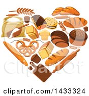 Clipart Of A Heart Made Of Bakery Goods Royalty Free Vector Illustration