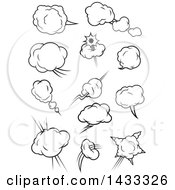 Clipart Of Black And White Comic Design Element Bursts Royalty Free Vector Illustration