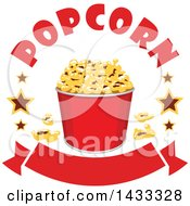 Clipart Of A Popcorn Bucket With Stars And Text Over A Banner Royalty Free Vector Illustration by Vector Tradition SM