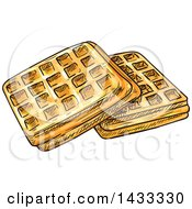 Clipart Of Sketched Belgian Waffles Royalty Free Vector Illustration