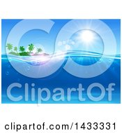 Clipart Of A Silhouetted Tropical Island Under A Sunny Sky With Blue Ocean Water Royalty Free Vector Illustration